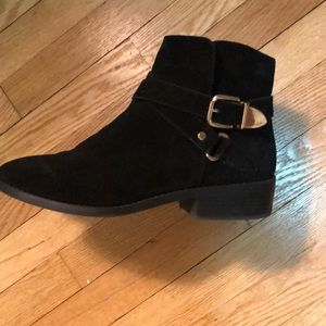 River island black booties with gold buckle